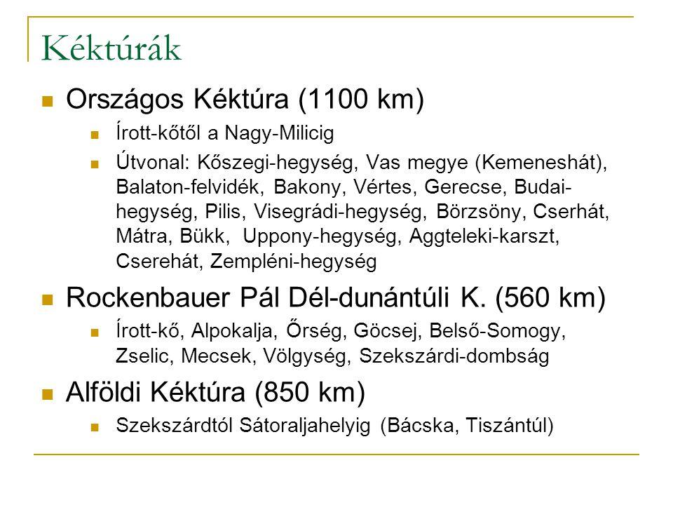Kéktúrák Országos Kéktúra (1100 km) Írott-kőtől a Nagy-Milicig Útvonal: Kőszegi-hegység, Vas megye (Kemeneshát), Balaton-felvidék, Bakony, Vértes, Gerecse, Budai- hegység, Pilis, Visegrádi-hegység, Börzsöny, Cserhát, Mátra, Bükk, Uppony-hegység, Aggteleki-karszt, Cserehát, Zempléni-hegység Rockenbauer Pál Dél-dunántúli K.