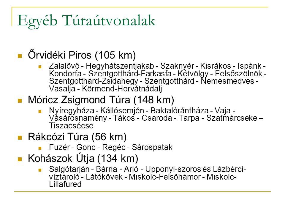 Egyéb Túraútvonalak Őrvidéki Piros (105 km) Zalalövő - Hegyhátszentjakab - Szaknyér - Kisrákos - Ispánk - Kondorfa - Szentgotthárd-Farkasfa - Kétvölgy - Felsőszölnök - Szentgotthárd-Zsidahegy - Szentgotthárd - Nemesmedves - Vasalja - Körmend-Horvátnádalj Móricz Zsigmond Túra (148 km) Nyíregyháza - Kállósemjén - Baktalórántháza - Vaja - Vásárosnamény - Tákos - Csaroda - Tarpa - Szatmárcseke – Tiszacsécse Rákcózi Túra (56 km) Füzér - Gönc - Regéc - Sárospatak Kohászok Útja (134 km) Salgótarján - Bárna - Arló - Upponyi-szoros és Lázbérci- víztároló - Látókövek - Miskolc-Felsőhámor - Miskolc- Lillafüred