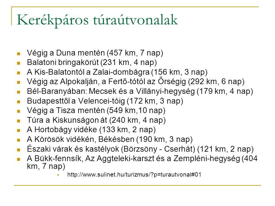Kerékpáros túraútvonalak Végig a Duna mentén (457 km, 7 nap) Balatoni bringakörút (231 km, 4 nap) A Kis-Balatontól a Zalai-dombágra (156 km, 3 nap) Végig az Alpokalján, a Fertő-tótól az Őrségig (292 km, 6 nap) Bél-Baranyában: Mecsek és a Villányi-hegység (179 km, 4 nap) Budapesttől a Velencei-tóig (172 km, 3 nap) Végig a Tisza mentén (549 km,10 nap) Túra a Kiskunságon át (240 km, 4 nap) A Hortobágy vidéke (133 km, 2 nap) A Körösök vidékén, Békésben (190 km, 3 nap) Északi várak és kastélyok (Börzsöny - Cserhát) (121 km, 2 nap) A Bükk-fennsík, Az Aggteleki-karszt és a Zempléni-hegység (404 km, 7 nap)  http://www.sulinet.hu/turizmus/?p=turautvonal#01