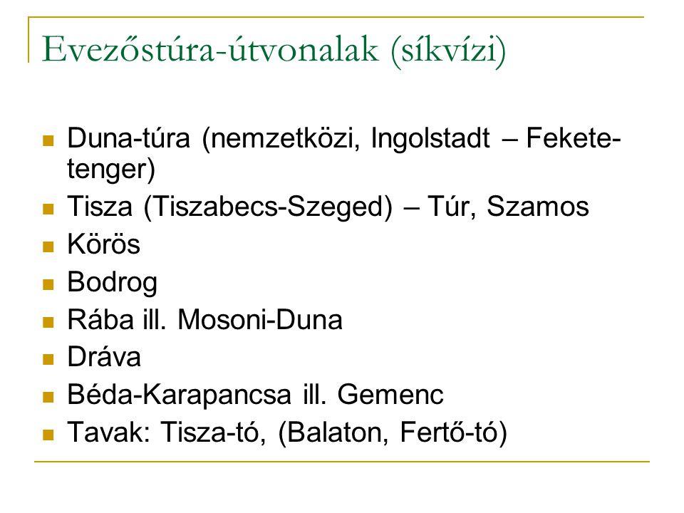 Evezőstúra-útvonalak (síkvízi) Duna-túra (nemzetközi, Ingolstadt – Fekete- tenger) Tisza (Tiszabecs-Szeged) – Túr, Szamos Körös Bodrog Rába ill. Moson
