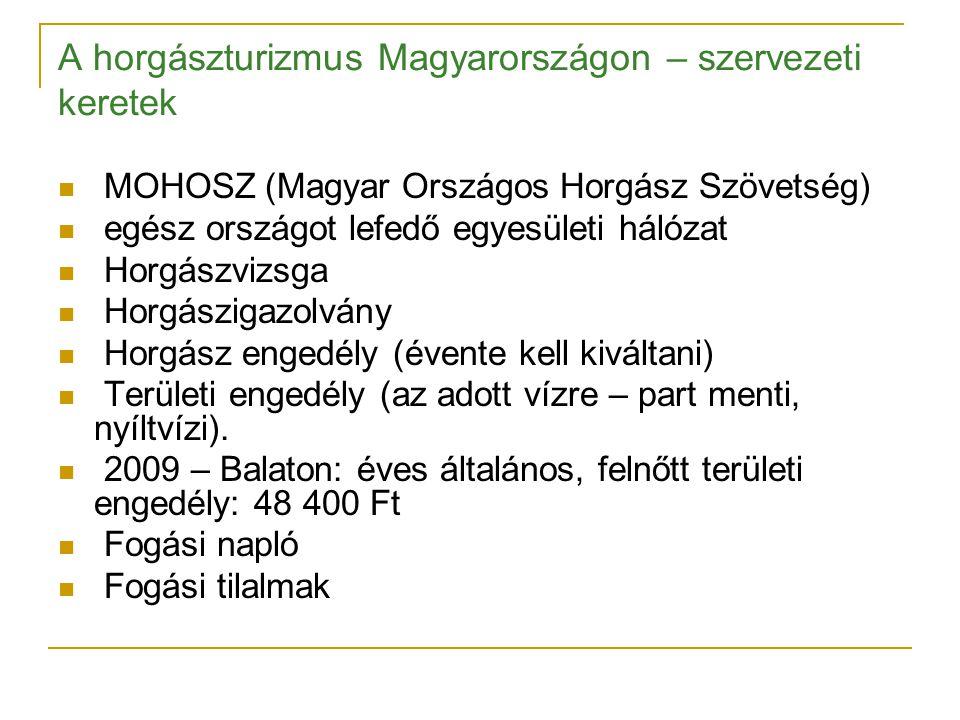 A horgászturizmus Magyarországon – szervezeti keretek MOHOSZ (Magyar Országos Horgász Szövetség) egész országot lefedő egyesületi hálózat Horgászvizsg