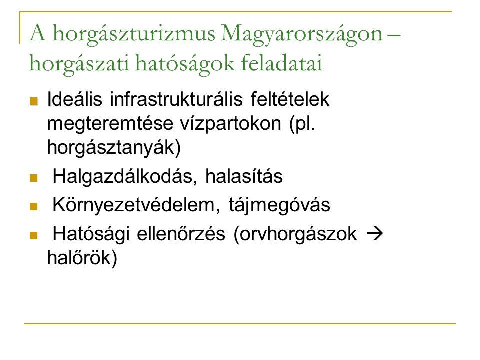 A horgászturizmus Magyarországon – horgászati hatóságok feladatai I Ideális infrastrukturális feltételek megteremtése vízpartokon (pl. horgásztanyák)