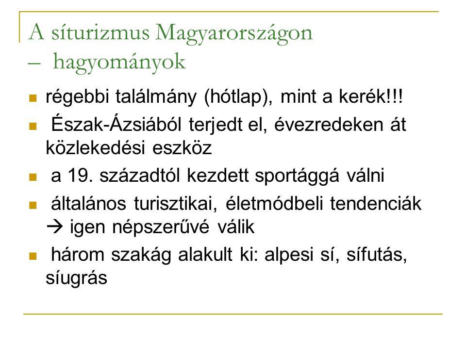 A síturizmus Magyarországon – hagyományok régebbi találmány (hótlap), mint a kerék!!! Észak-Ázsiából terjedt el, évezredeken át közlekedési eszköz a 1