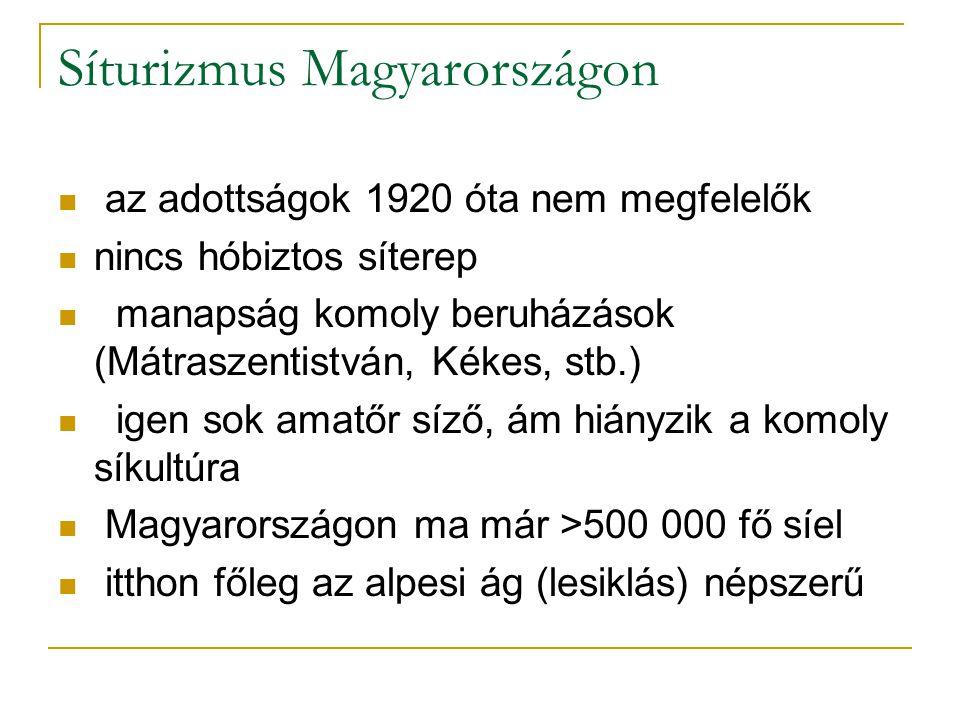 Síturizmus Magyarországon az adottságok 1920 óta nem megfelelők nincs hóbiztos síterep manapság komoly beruházások (Mátraszentistván, Kékes, stb.) igen sok amatőr síző, ám hiányzik a komoly síkultúra Magyarországon ma már >500 000 fő síel itthon főleg az alpesi ág (lesiklás) népszerű