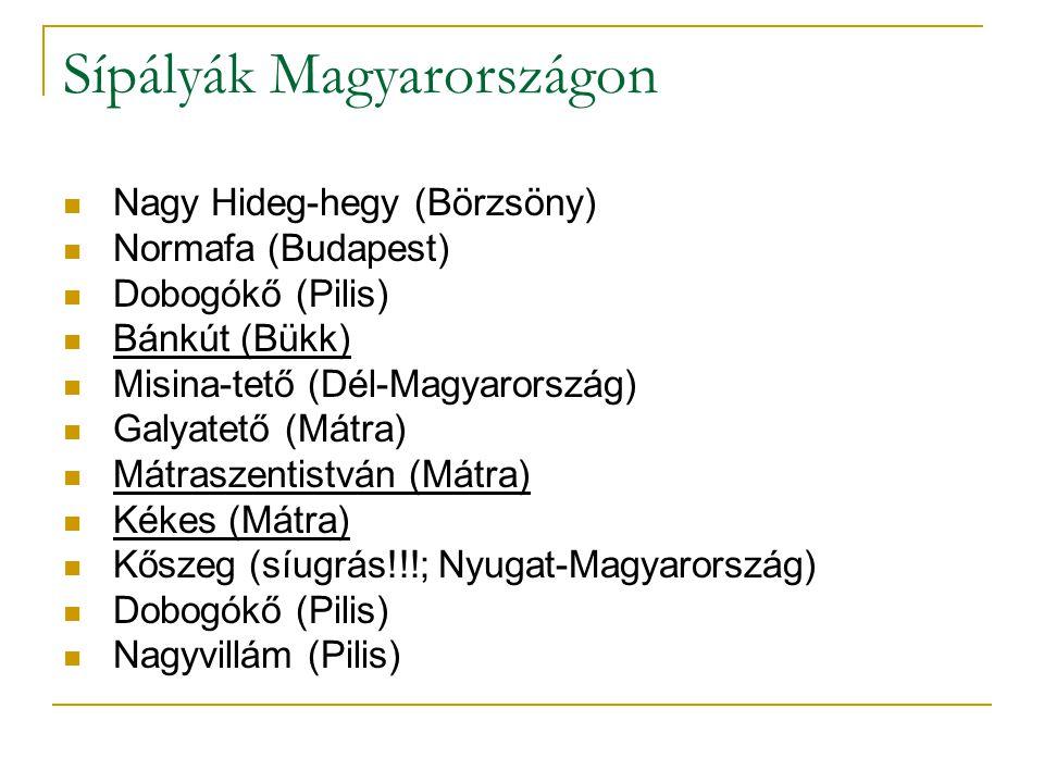 Sípályák Magyarországon Nagy Hideg-hegy (Börzsöny) Normafa (Budapest) Dobogókő (Pilis) Bánkút (Bükk) Misina-tető (Dél-Magyarország) Galyatető (Mátra)