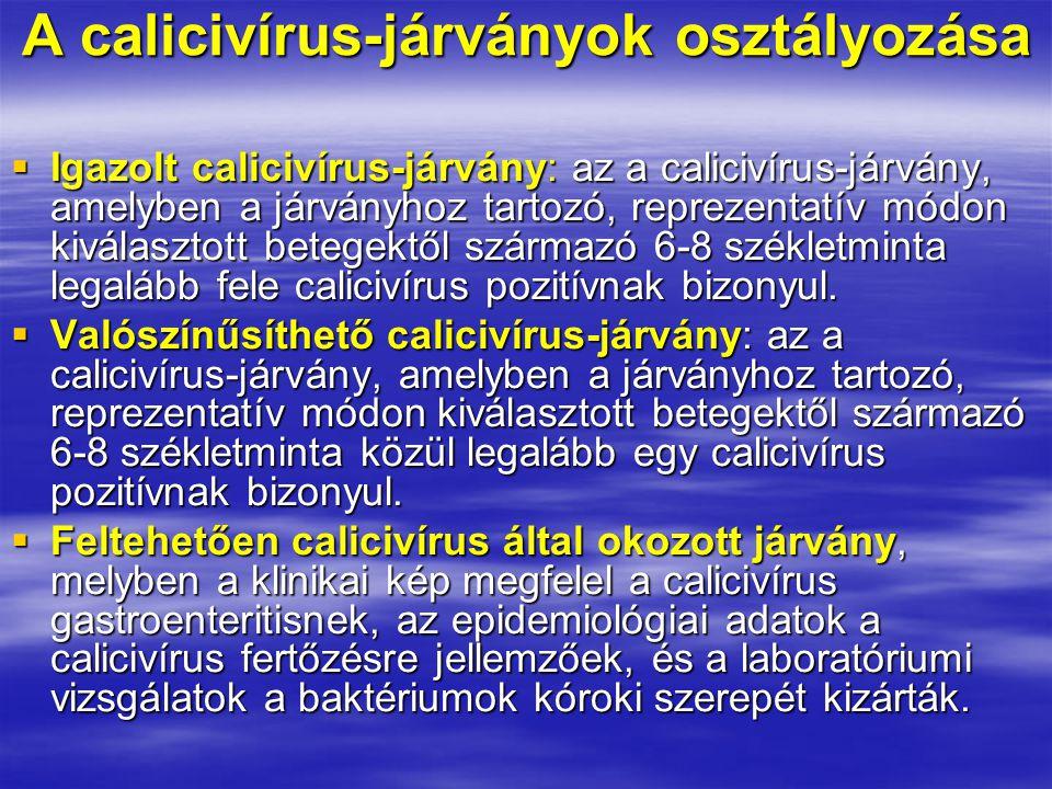 A calicivírus-járványok osztályozása  Igazolt calicivírus-járvány: az a calicivírus-járvány, amelyben a járványhoz tartozó, reprezentatív módon kiválasztott betegektől származó 6-8 székletminta legalább fele calicivírus pozitívnak bizonyul.