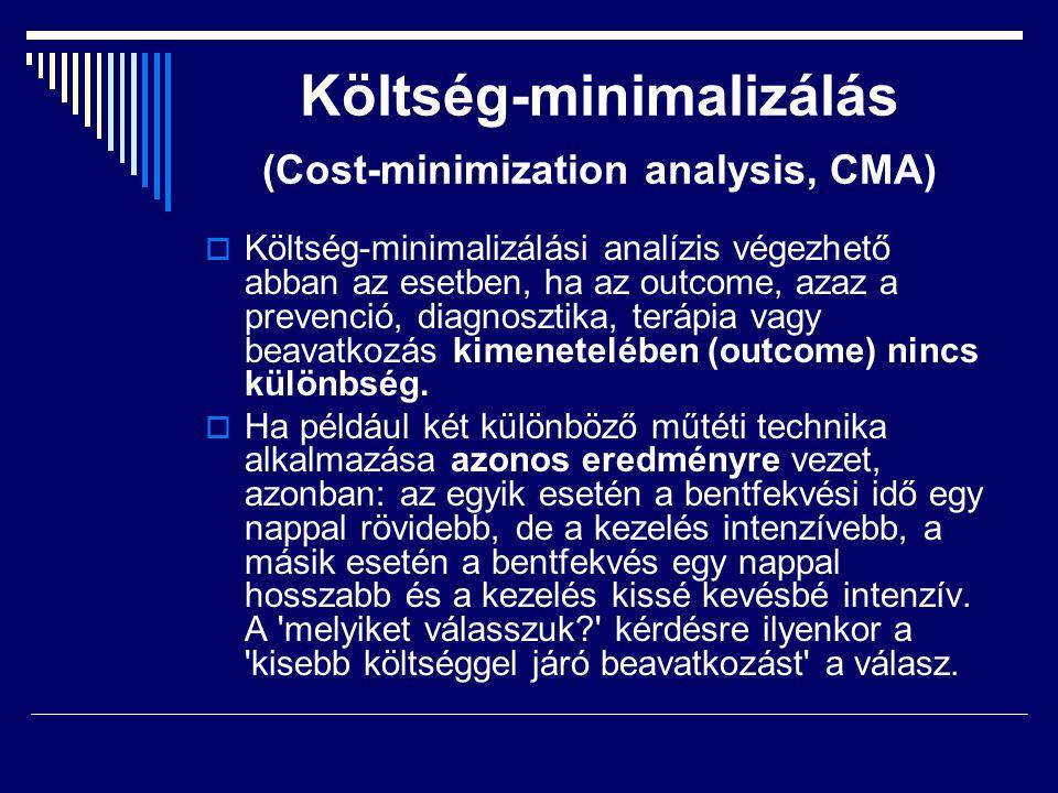 Költség-minimalizálás (Cost-minimization analysis, CMA)  Költség-minimalizálási analízis végezhető abban az esetben, ha az outcome, azaz a prevenció,