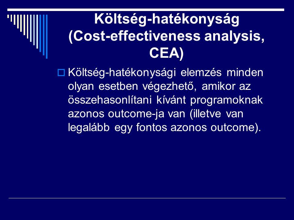  Költség-hatékonysági elemzés minden olyan esetben végezhető, amikor az összehasonlítani kívánt programoknak azonos outcome-ja van (illetve van legal