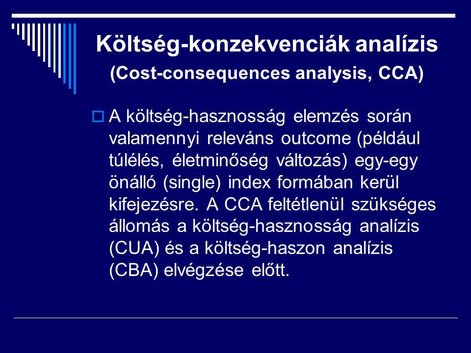 Költség-konzekvenciák analízis (Cost-consequences analysis, CCA)  A költség-hasznosság elemzés során valamennyi releváns outcome (például túlélés, él