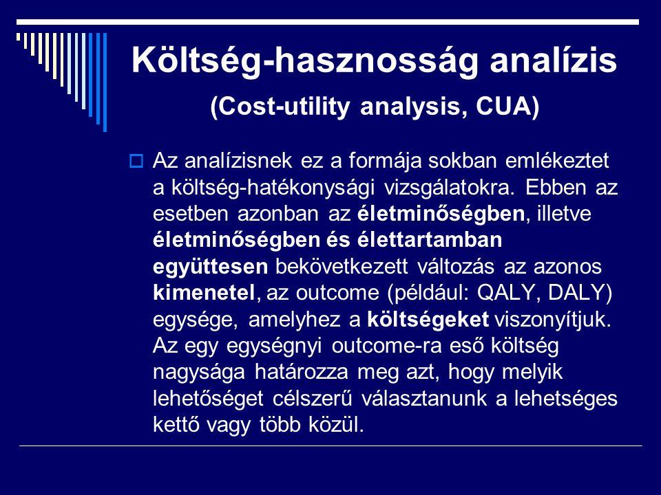 Költség-hasznosság analízis (Cost-utility analysis, CUA)  Az analízisnek ez a formája sokban emlékeztet a költség-hatékonysági vizsgálatokra. Ebben a