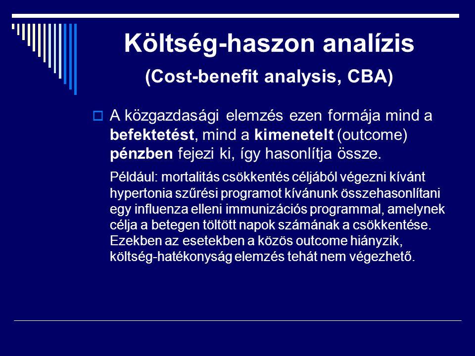 Költség-haszon analízis (Cost-benefit analysis, CBA)  A közgazdasági elemzés ezen formája mind a befektetést, mind a kimenetelt (outcome) pénzben fej