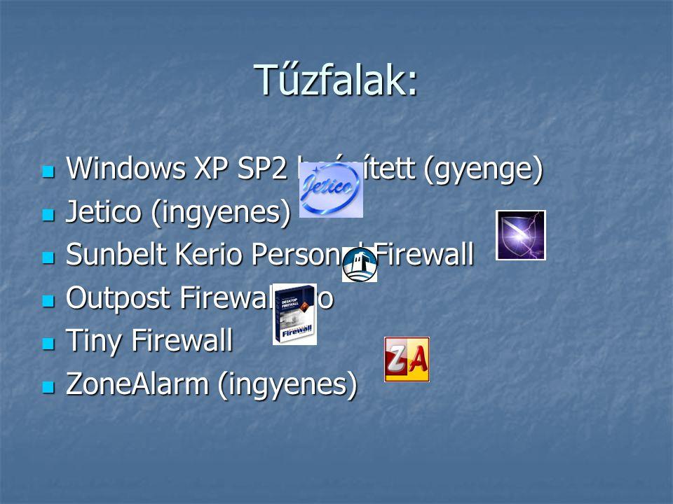Tűzfalak: Windows XP SP2 beépített (gyenge) Windows XP SP2 beépített (gyenge) Jetico (ingyenes) Jetico (ingyenes) Sunbelt Kerio Personal Firewall Sunb