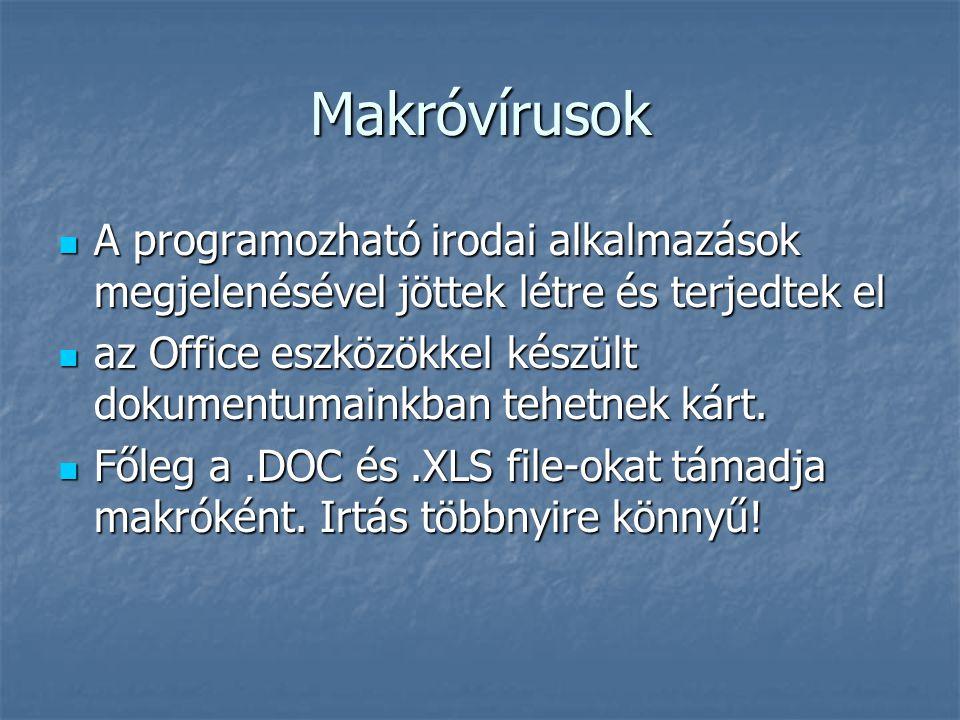Makróvírusok A programozható irodai alkalmazások megjelenésével jöttek létre és terjedtek el A programozható irodai alkalmazások megjelenésével jöttek