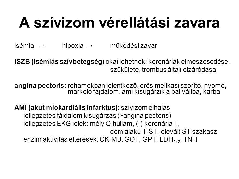 A szívizom vérellátási zavara isémia→hipoxia→működési zavar ISZB (isémiás szívbetegség) okai lehetnek: koronáriák elmeszesedése, szűkülete, trombus ál