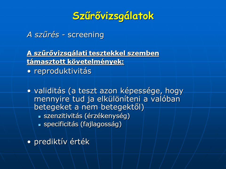 Szűrővizsgálatok A szűrés - screening A szűrővizsgálati tesztekkel szemben támasztott követelmények: reproduktivitásreproduktivitás validitás (a teszt