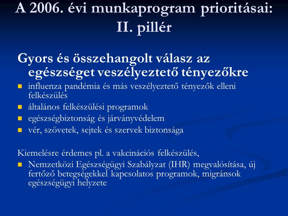 A 2006. évi munkaprogram prioritásai: II. pillér Gyors és összehangolt válasz az egészséget veszélyeztető tényezőkre influenza pandémia és más veszély