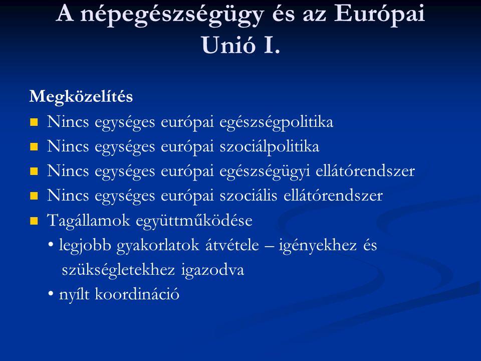 A népegészségügy és az Európai Unió I. Megközelítés Nincs egységes európai egészségpolitika Nincs egységes európai szociálpolitika Nincs egységes euró