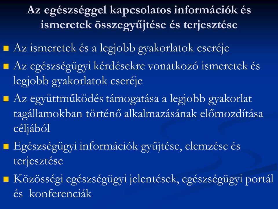 Az egészséggel kapcsolatos információk és ismeretek összegyűjtése és terjesztése Az ismeretek és a legjobb gyakorlatok cseréje Az egészségügyi kérdése