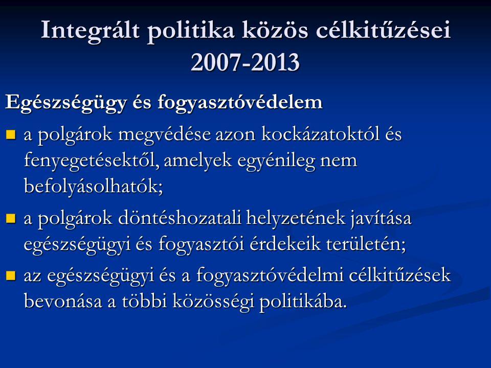 Integrált politika közös célkitűzései 2007-2013 Egészségügy és fogyasztóvédelem a polgárok megvédése azon kockázatoktól és fenyegetésektől, amelyek eg