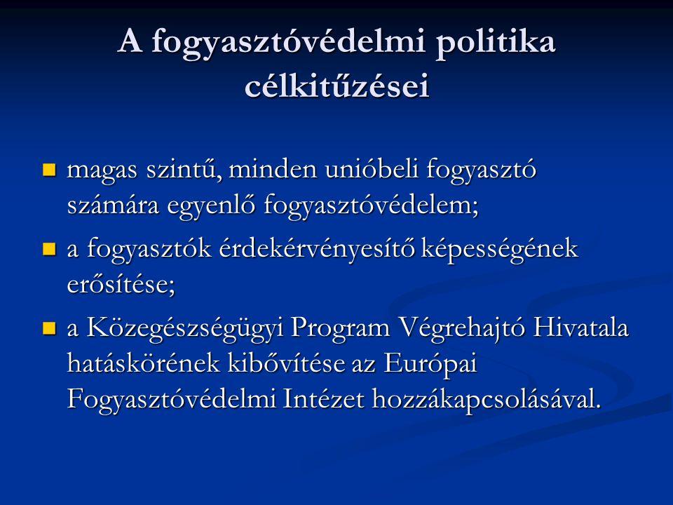 A fogyasztóvédelmi politika célkitűzései magas szintű, minden unióbeli fogyasztó számára egyenlő fogyasztóvédelem; magas szintű, minden unióbeli fogya