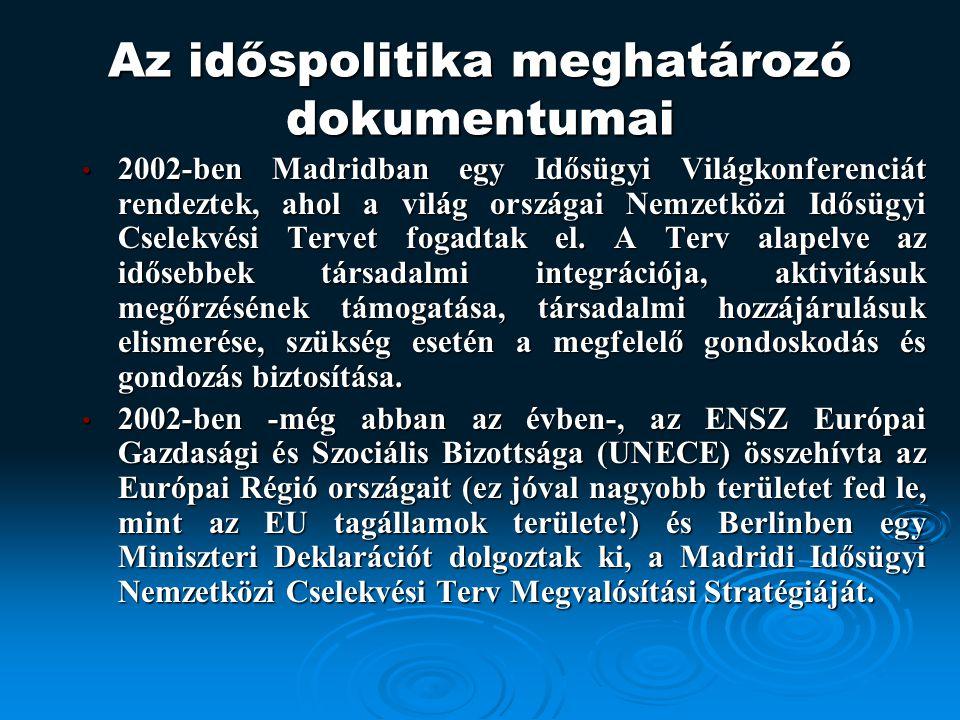 Az időspolitika meghatározó dokumentumai 2002-ben Madridban egy Idősügyi Világkonferenciát rendeztek, ahol a világ országai Nemzetközi Idősügyi Cselekvési Tervet fogadtak el.