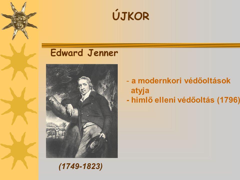 Edward Jenner (1749-1823) - a modernkori védőoltások atyja - himlő elleni védőoltás (1796) ÚJKOR