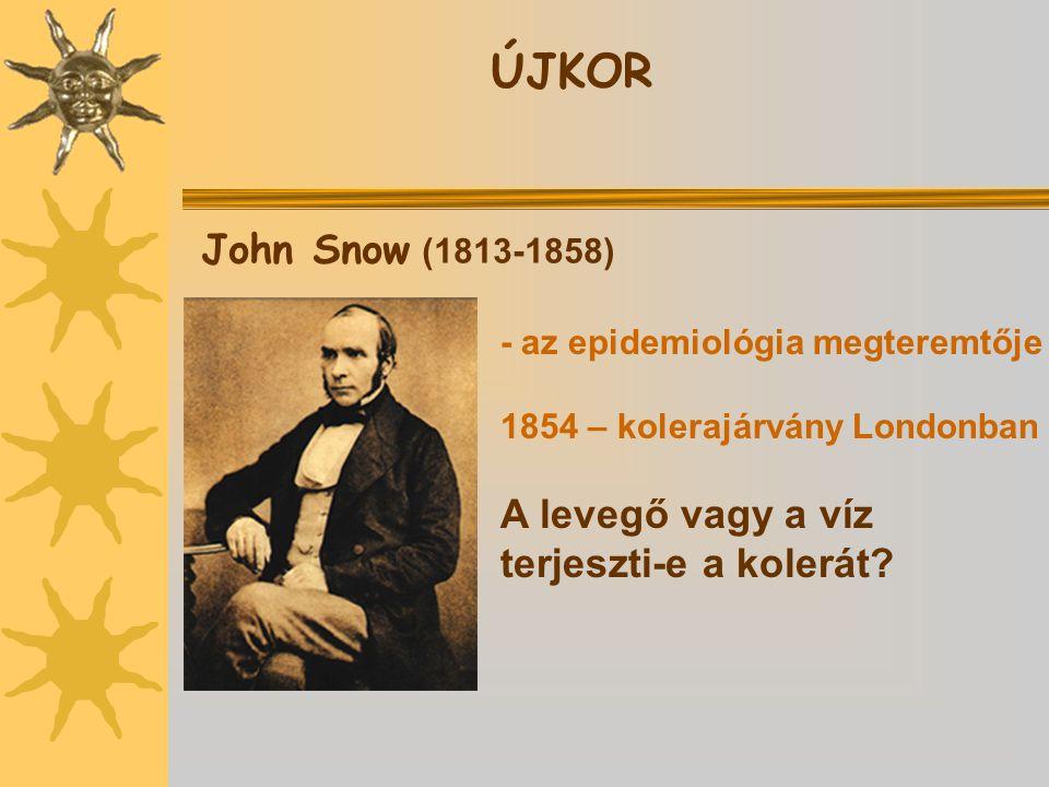 John Snow (1813-1858) - az epidemiológia megteremtője 1854 – kolerajárvány Londonban A levegő vagy a víz terjeszti-e a kolerát?