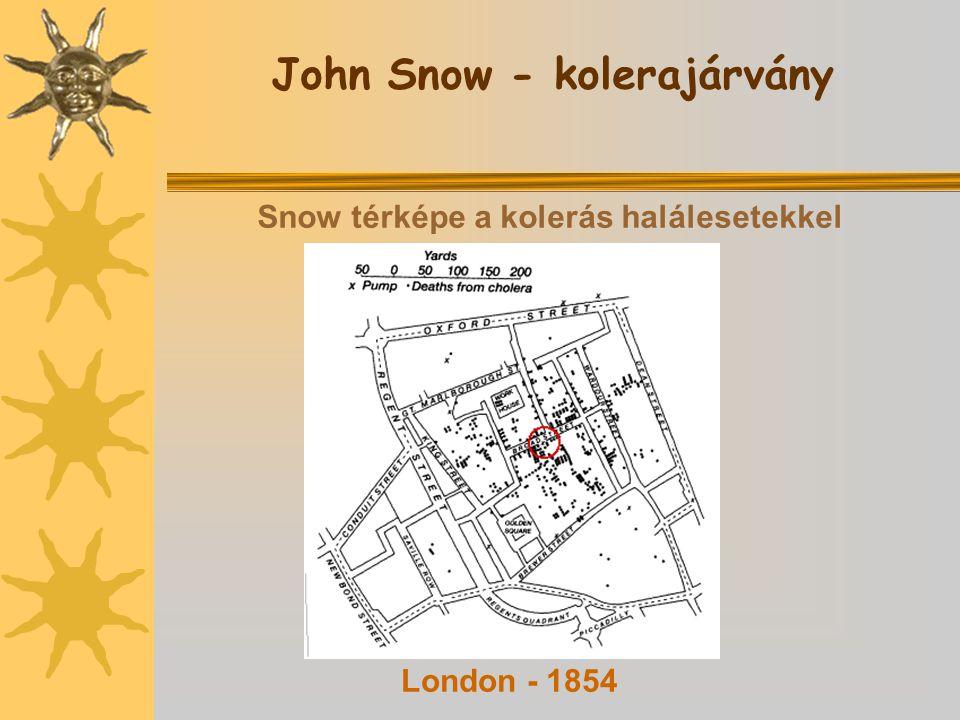 John Snow - kolerajárvány Snow térképe a kolerás halálesetekkel London - 1854