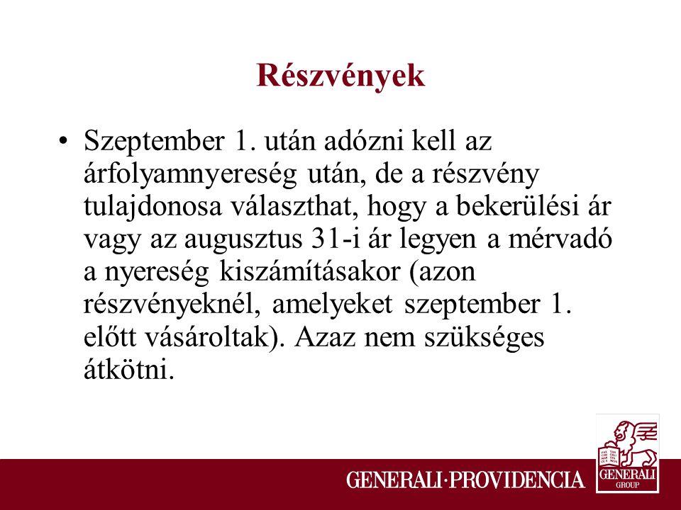 Részvények Szeptember 1.