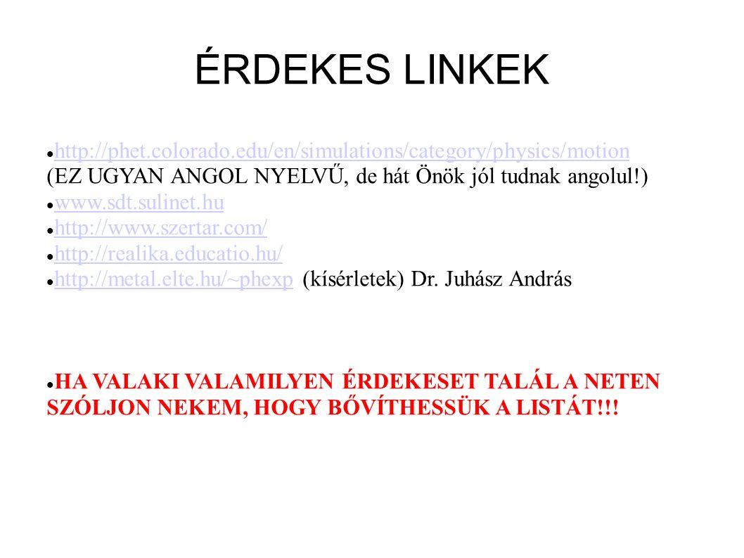 ÉRDEKES LINKEK http://phet.colorado.edu/en/simulations/category/physics/motion (EZ UGYAN ANGOL NYELVŰ, de hát Önök jól tudnak angolul!) www.sdt.suline
