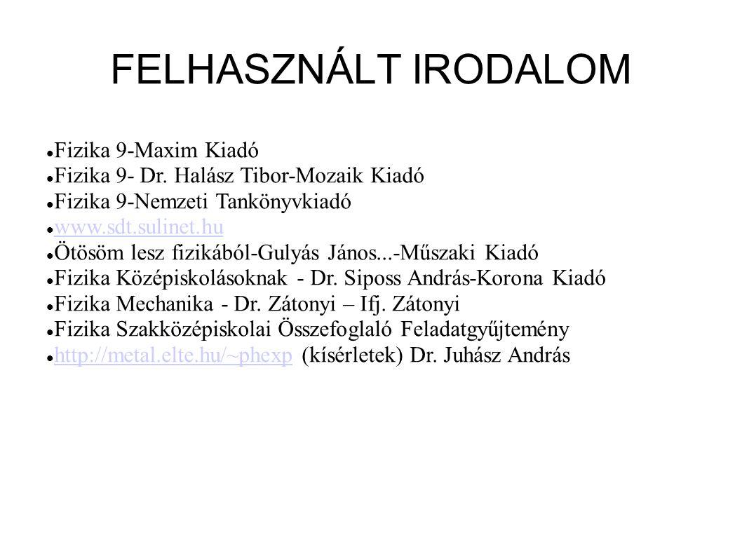 FELHASZNÁLT IRODALOM Fizika 9-Maxim Kiadó Fizika 9- Dr. Halász Tibor-Mozaik Kiadó Fizika 9-Nemzeti Tankönyvkiadó www.sdt.sulinet.hu Ötösöm lesz fiziká