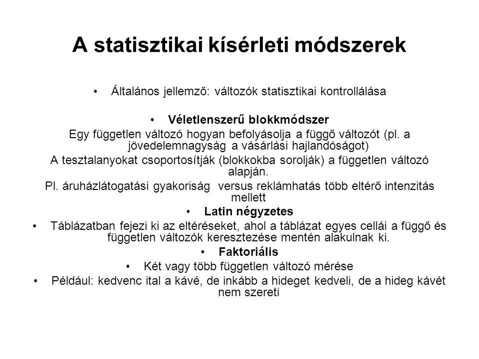 A statisztikai kísérleti módszerek Általános jellemző: változók statisztikai kontrollálása Véletlenszerű blokkmódszer Egy független változó hogyan bef