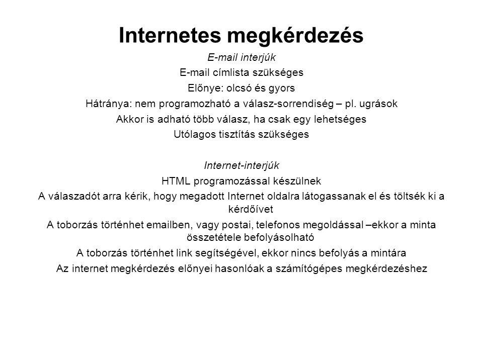 Internetes megkérdezés E-mail interjúk E-mail címlista szükséges Előnye: olcsó és gyors Hátránya: nem programozható a válasz-sorrendiség – pl. ugrások
