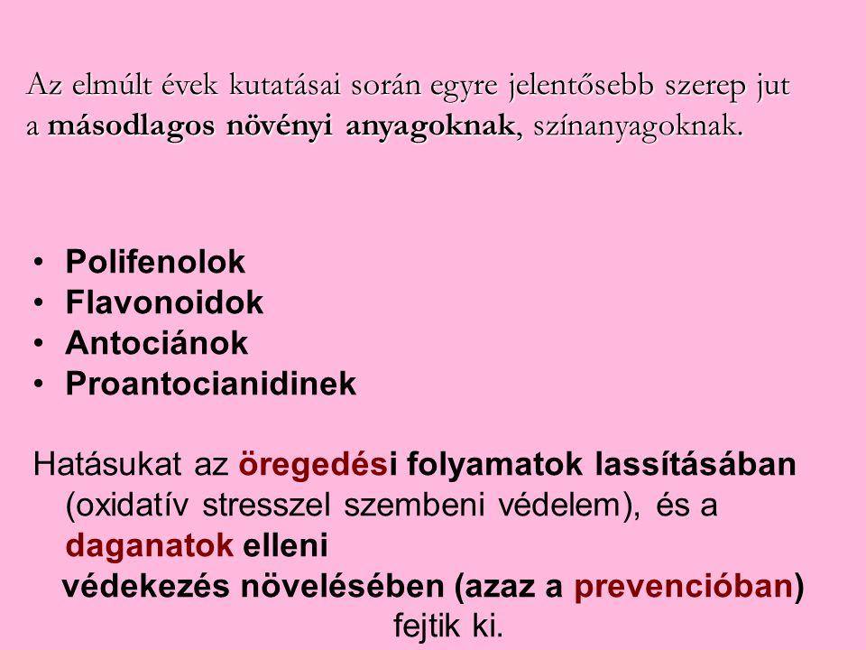 Polifenolok Flavonoidok Antociánok Proantocianidinek Hatásukat az öregedési folyamatok lassításában (oxidatív stresszel szembeni védelem), és a dagana