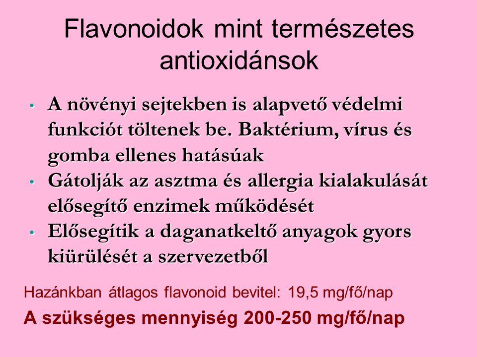 Hazánkban átlagos flavonoid bevitel: 19,5 mg/fő/nap A szükséges mennyiség 200-250 mg/fő/nap A növényi sejtekben is alapvető védelmi funkciót töltenek