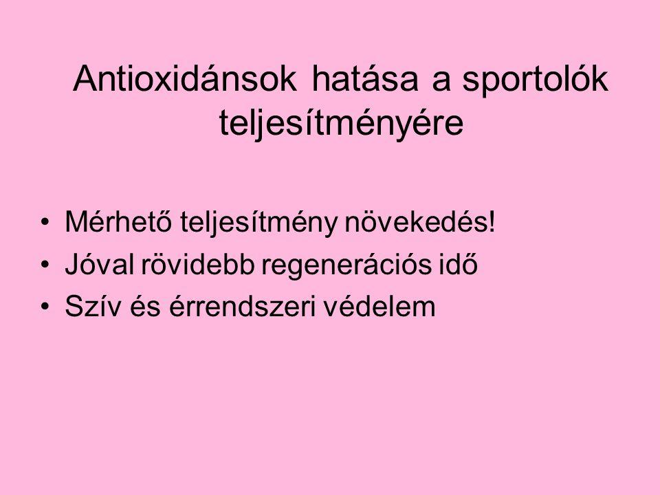 Antioxidánsok hatása a sportolók teljesítményére Mérhető teljesítmény növekedés! Jóval rövidebb regenerációs idő Szív és érrendszeri védelem