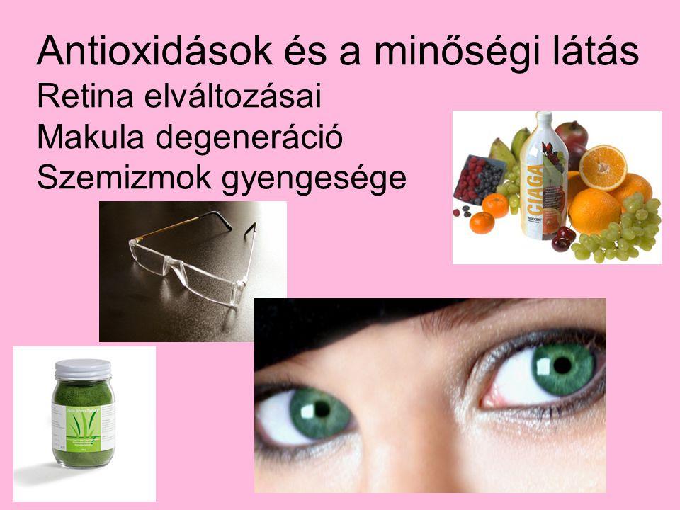 Antioxidások és a minőségi látás Retina elváltozásai Makula degeneráció Szemizmok gyengesége