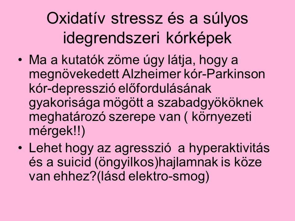 Oxidatív stressz és a súlyos idegrendszeri kórképek Ma a kutatók zöme úgy látja, hogy a megnövekedett Alzheimer kór-Parkinson kór-depresszió előfordul