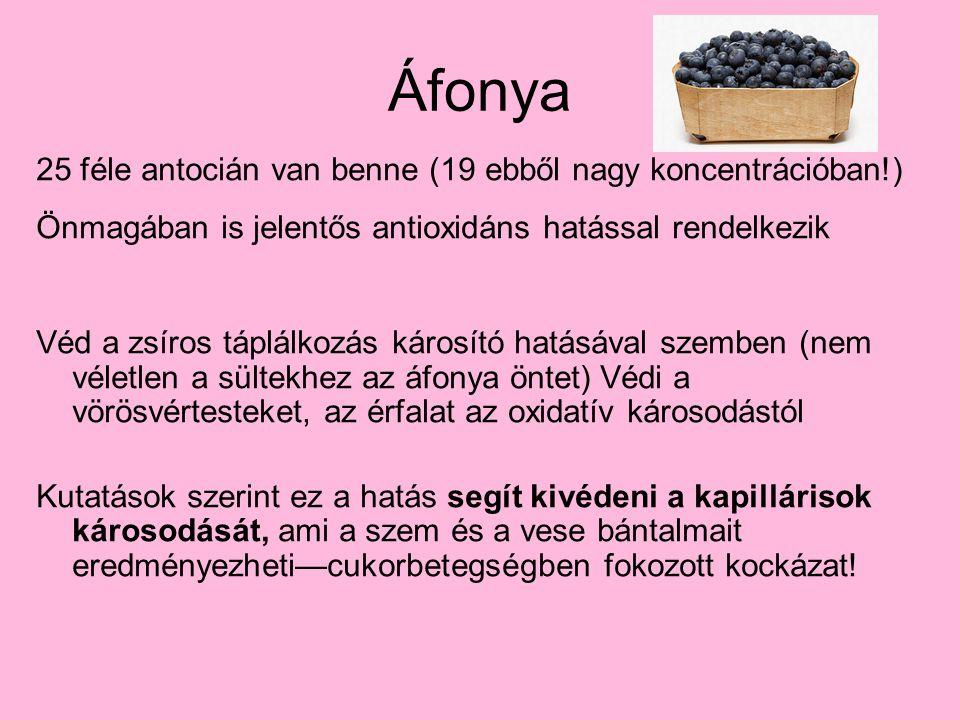 Áfonya 25 féle antocián van benne (19 ebből nagy koncentrációban!) Önmagában is jelentős antioxidáns hatással rendelkezik Véd a zsíros táplálkozás kár