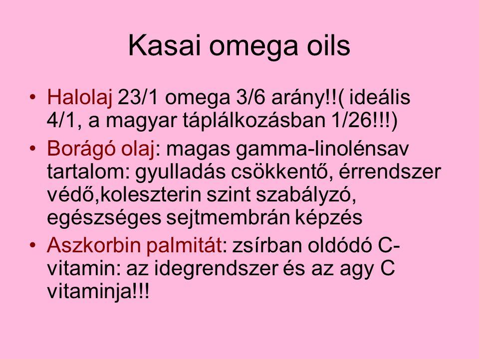 Kasai omega oils Halolaj 23/1 omega 3/6 arány!!( ideális 4/1, a magyar táplálkozásban 1/26!!!) Borágó olaj: magas gamma-linolénsav tartalom: gyulladás