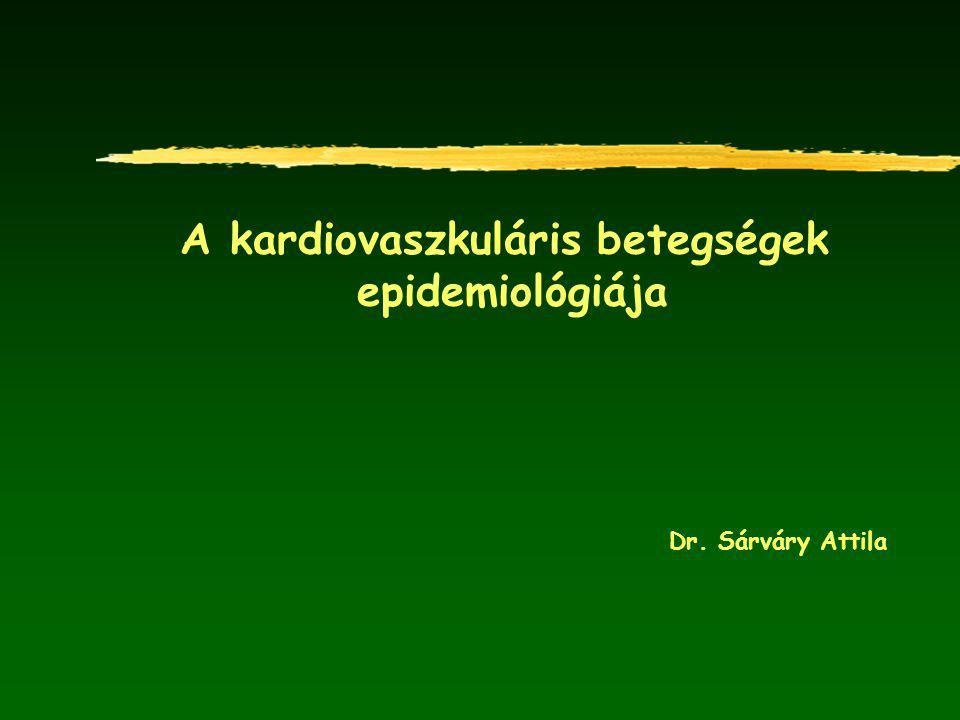 Az ischaemiás szívbetegségek okozta halálozás alakulása kor és nem szerint Magyarországon és Európa régióiban (1970-1998) FÉRFIAKNŐK MAGYARORSZÁG Csehország Finnország EU15 Franciaország *Standard: A 25-64 éves európai standard populáció Forrás: WHO/Európa, HFA adatbázis, 2007.