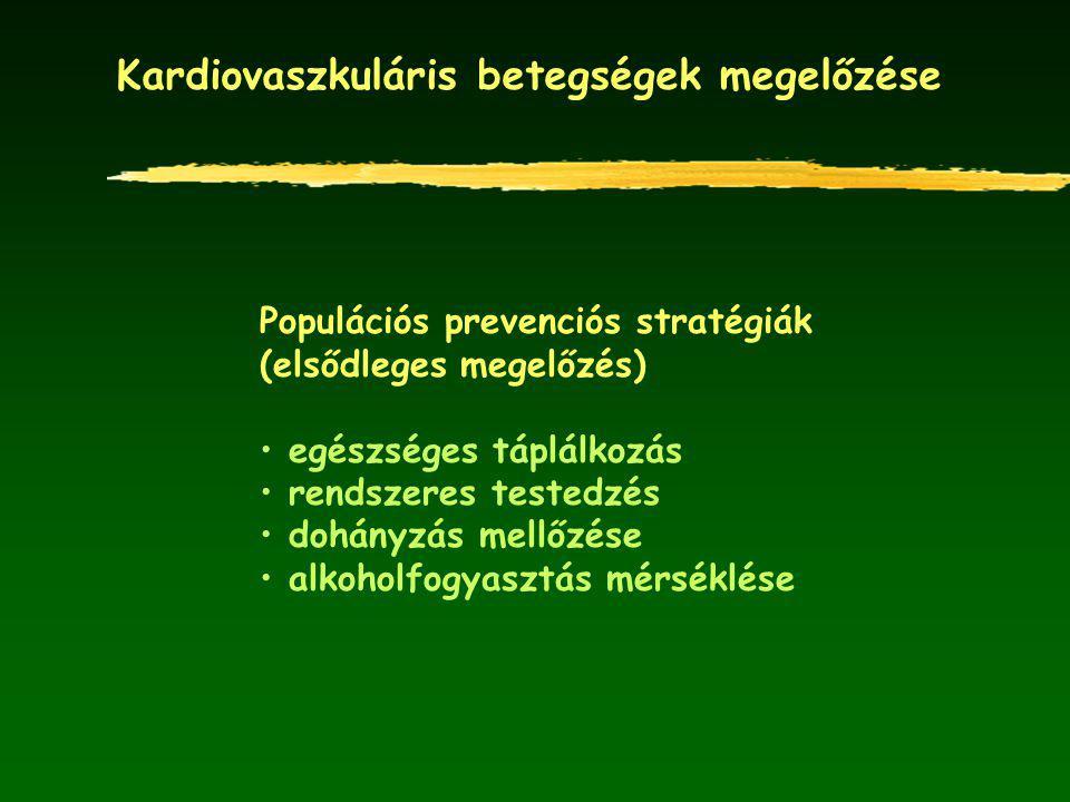 Kardiovaszkuláris betegségek megelőzése Populációs prevenciós stratégiák (elsődleges megelőzés) egészséges táplálkozás rendszeres testedzés dohányzás
