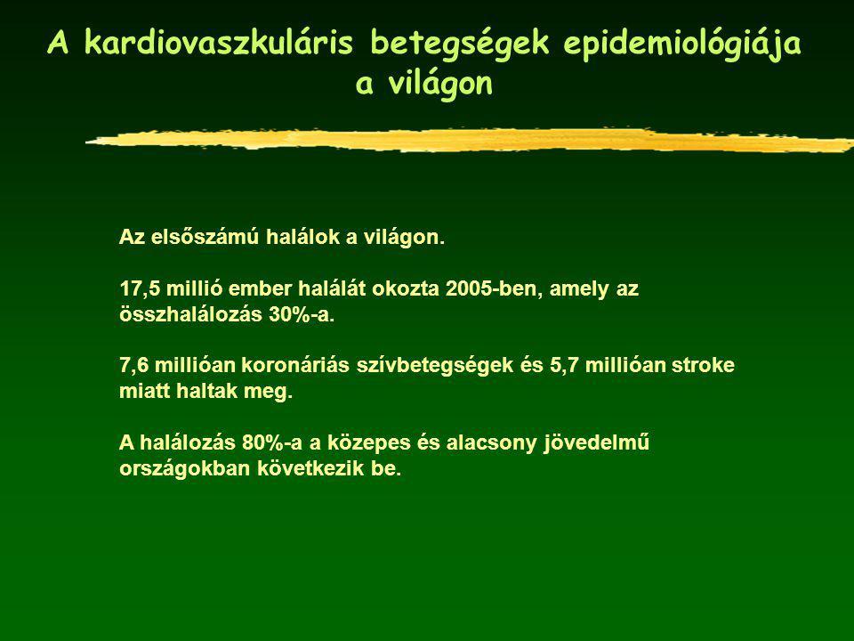 A 25-64 éves férfiak és nők keringési rendszer betegségei miatti halálozásának alakulása Magyarországon és az Európai Unióban (1980-2005) *Standard: A 25-64 éves európai standard populáció Forrás: WHO/Európa, HFA adatbázis, 2007.