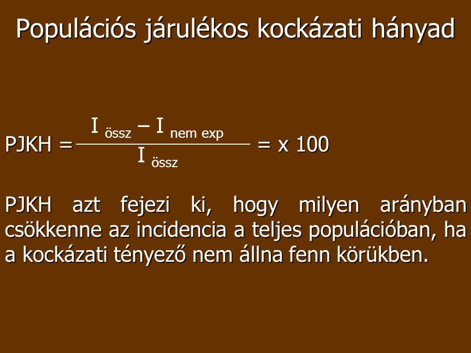 Populációs járulékos kockázati hányad PJKH = = x 100 PJKH azt fejezi ki, hogy milyen arányban csökkenne az incidencia a teljes populációban, ha a kock