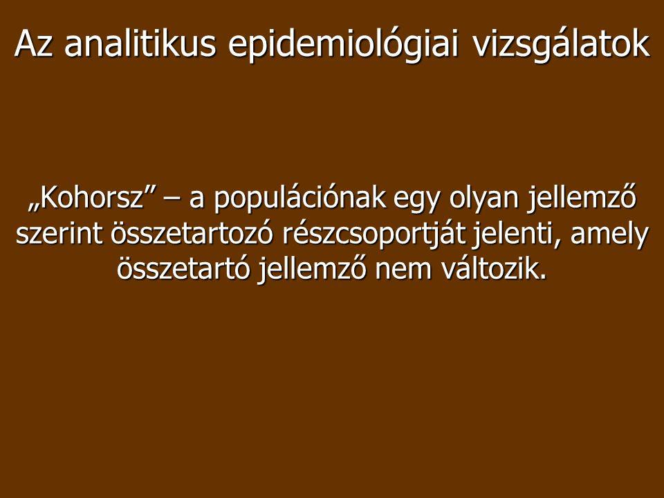 Követéses vizsgálat Kiválasztott lakosság csoport Exponált csoport Nem exponált csoport Beteg Nem beteg Beteg Nem beteg