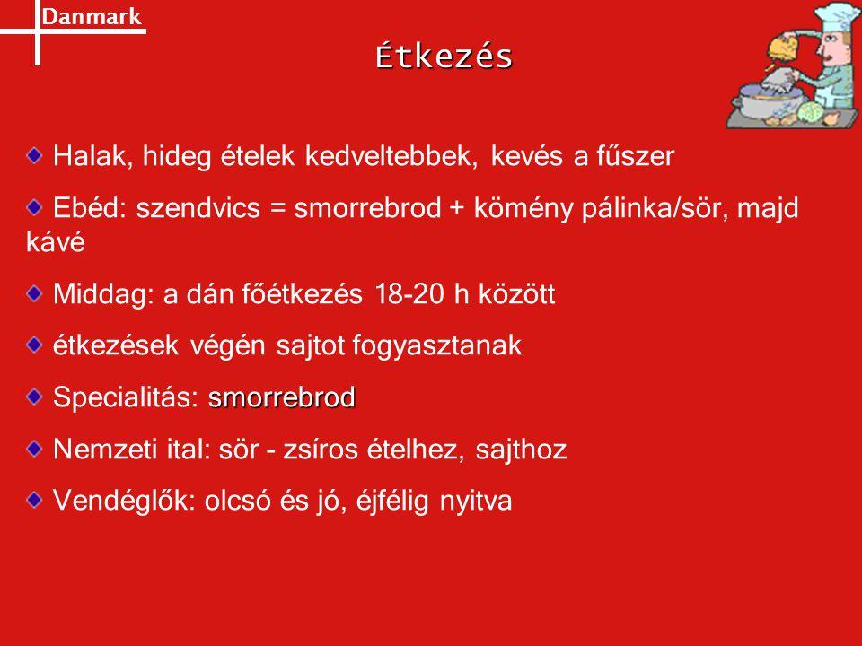 Danmark Halak, hideg ételek kedveltebbek, kevés a fűszer Ebéd: szendvics = smorrebrod + kömény pálinka/sör, majd kávé Middag: a dán főétkezés 18-20 h