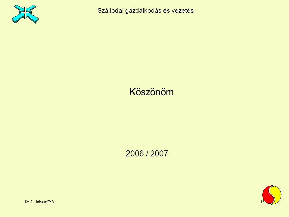 Dr. L. Juhasz PhD15 2006 / 2007 Köszönöm Szállodai gazdálkodás és vezetés