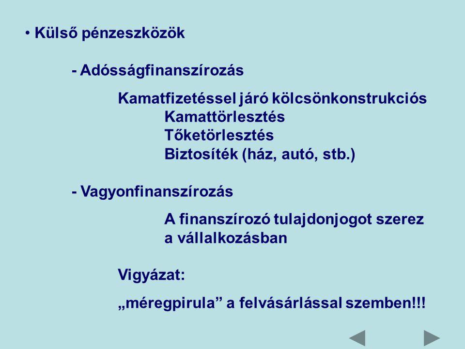 """Külső pénzeszközök - Adósságfinanszírozás Kamatfizetéssel járó kölcsönkonstrukciós Kamattörlesztés Tőketörlesztés Biztosíték (ház, autó, stb.) - Vagyonfinanszírozás A finanszírozó tulajdonjogot szerez a vállalkozásban Vigyázat: """"méregpirula a felvásárlással szemben!!!"""