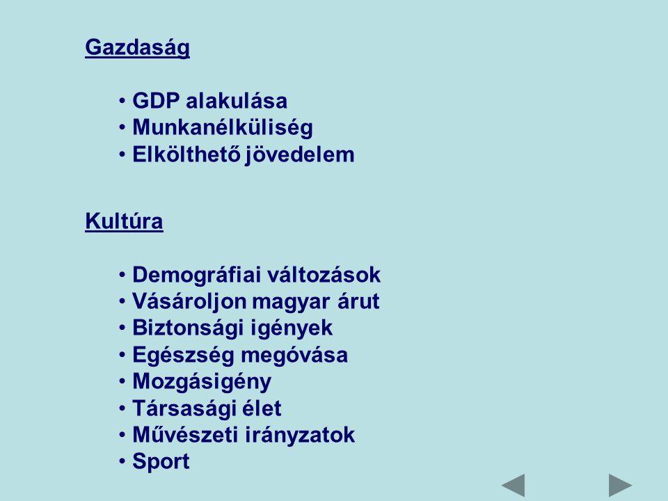 Gazdaság GDP alakulása Munkanélküliség Elkölthető jövedelem Kultúra Demográfiai változások Vásároljon magyar árut Biztonsági igények Egészség megóvása Mozgásigény Társasági élet Művészeti irányzatok Sport