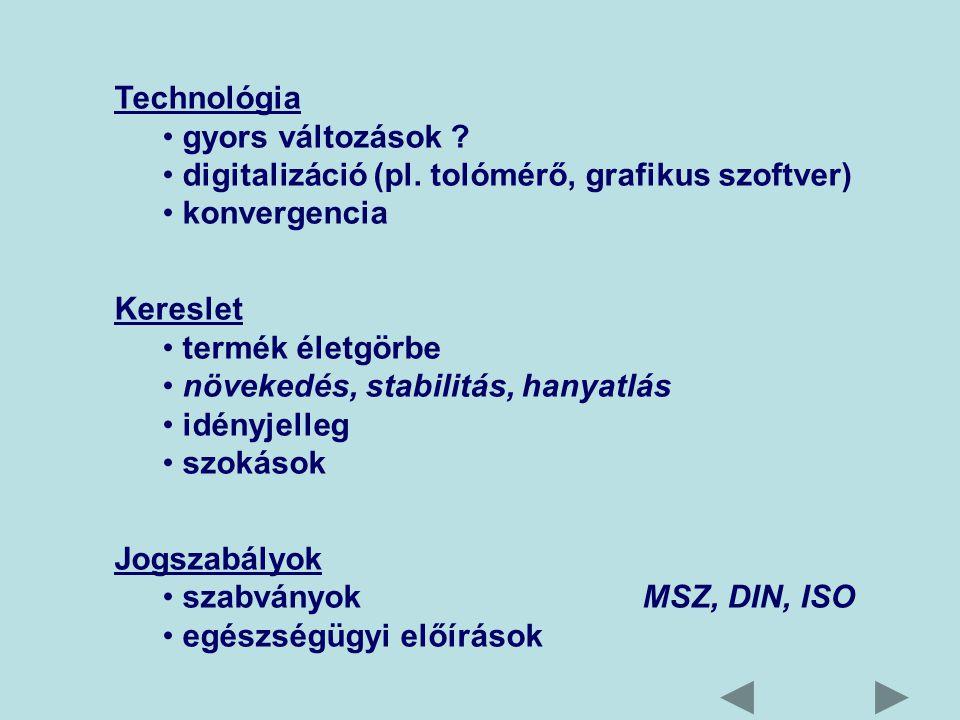 Technológia gyors változások .digitalizáció (pl.